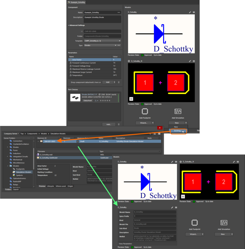 Example of referencing a revision of a Simulation Model Item as a model link, when direct editing a revision of a Component Item (managed component) using the Component Editor in its Single Component Editing mode.