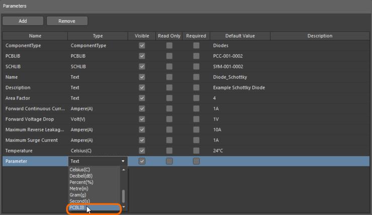 Задайте новый параметр в качестве определения модели посадочного места, задав его тип (Type) как PCBLIB.
