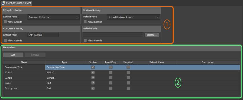 Редактор шаблона компонентов делится можно разделить на две ключевых области.
