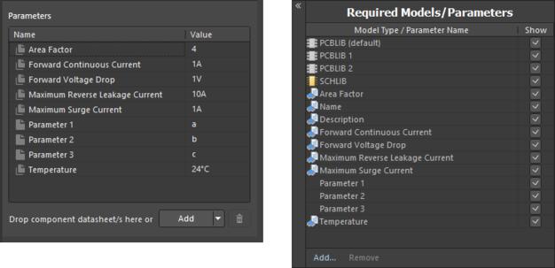 Пример параметров после привязки ревизии объекта шаблона компонентов при использовании редактора Component Editor в режиме Single Component Editing (слева) и в режиме Batch Component Editing (справа).