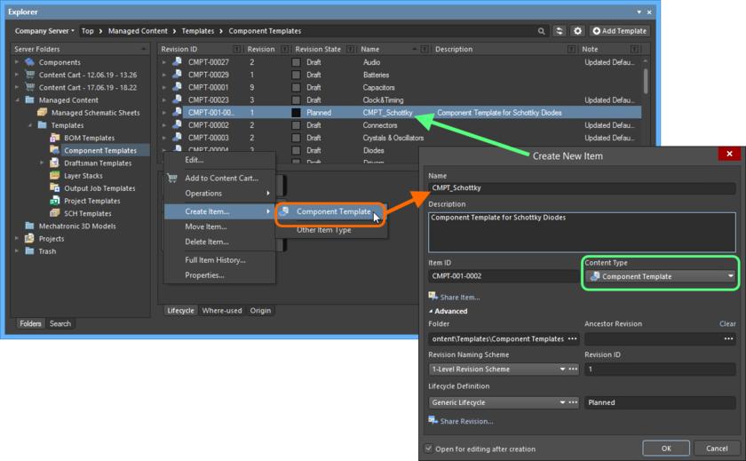 Создание объекта символа в папке Component Templates. Нужный тип содержимого (Content Type) доступен в контекстном меню.