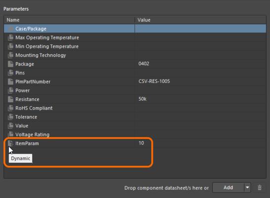 Пример параметра на уровне объекта, который был добавлен в объект компонента и который доступен ревизиям этого объекта.