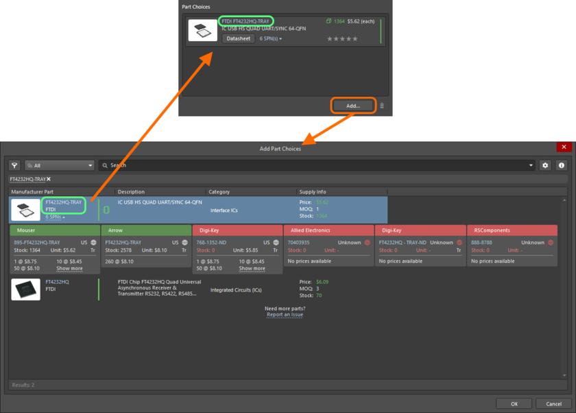 Создание варианта выбора компонента вручную – используйте диалоговое окно Add Part Choices для поиска нужного компонента производителя, выберите его запись и нажмите OK.