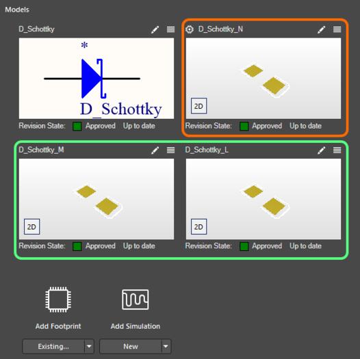 Компонент может ссылаться на множество посадочных мест. Посадочное место по умолчанию (выделено оранжевым прямоугольником) отличается иконкой в верхнем левом углу.