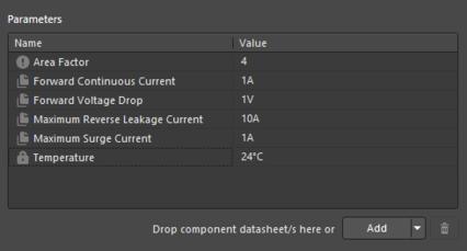 Пример параметров из объекта шаблона компонента, на который задана ссылка.