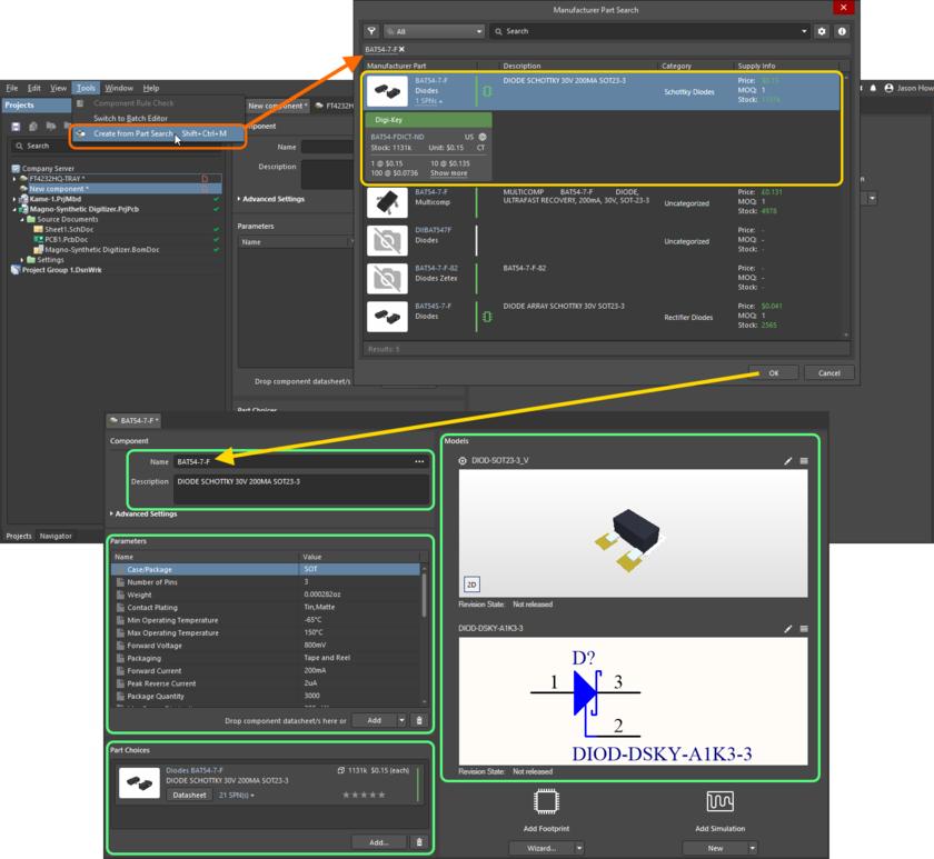 Используйте диалоговое окно Manufacturer Part Search для поиска нужного компонента производителя, выберите его и нажмите OK. На изображении показаны все данные этого компонента, добавленные в Component Editor.