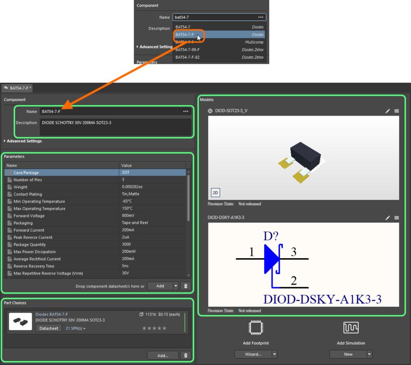 Начните вводить название нужного компонента производителя и выберите соответствующую запись из появившегося списка. На изображении показаны все данные этого компонента, добавленные в Component Editor.