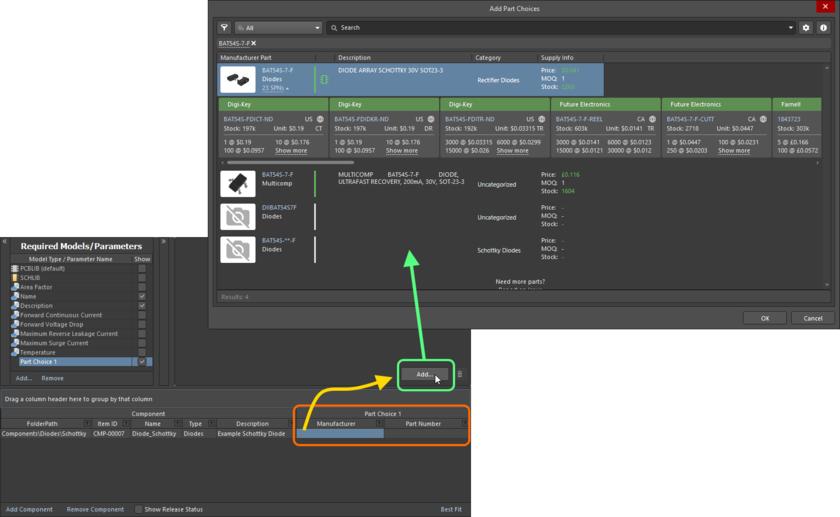Добавление варианта выбора компонента – используйте диалоговое окно Add Part Choices для поиска нужного компонента производителя, выберите его запись и нажмите OK.
