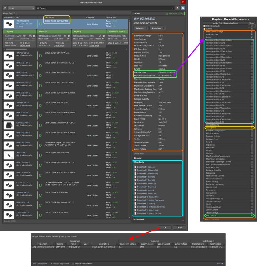Пример полученного определения и добавленных параметров компонента, выбранного в диалоговом окне Manufacturer Part Search. На изображении выделены данные, которые были добавлены из компонента производителя.