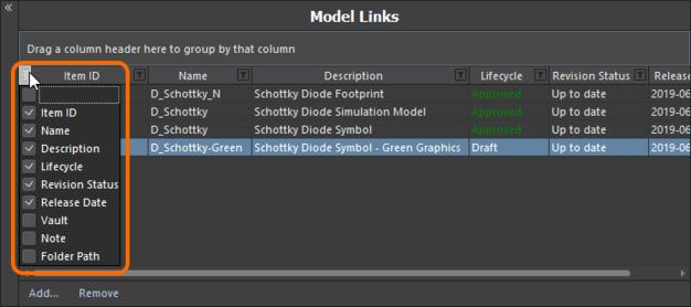 Скрывайте и отображайте столбцы данных ссылок на модели необходимым образом.