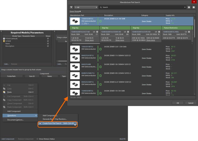 Открытие диалогового окна Manufacturer Part Search и поиск компонента, которые вы хотите добавить в редактор Component Editor.