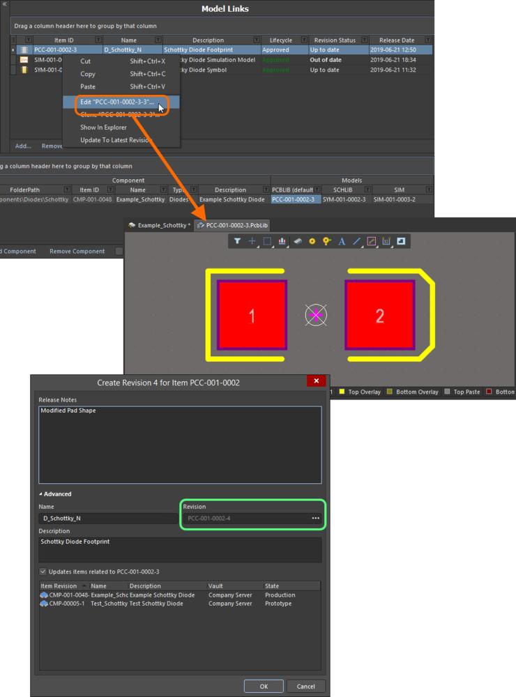 Внесите изменения в модели и выпустите ее непосредственно из области Model Links редактора Component Editor.