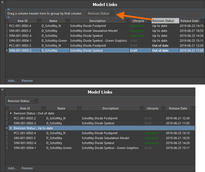 Группирование ссылок на модели на основе значений в столбце, в данным случае по столбцу Revision Status.
