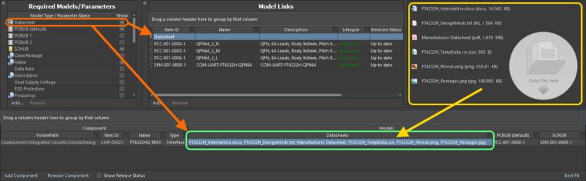 Подключение различных даташитов, как видно с точки зрения редактирования компонента в редакторе Component Editor.