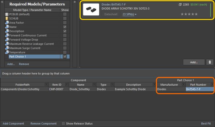 Пример варианта выбора компонента, добавленного с помощью диалогового окна Add Part Choices, в редакторе Component Editor.