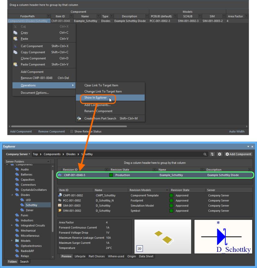 Переход к уже выпущенному управляемому компоненту в панели Explorer непосредственно из редактора Component Editor, когда ревизия этого компонента открыта на редактирование.