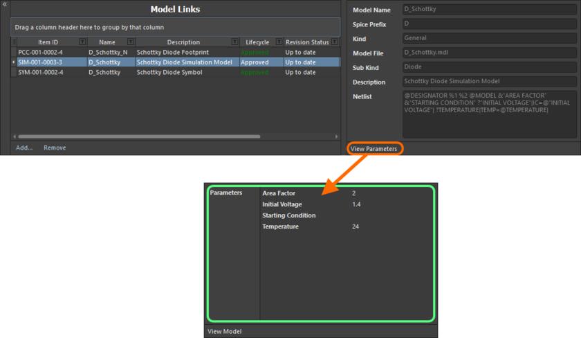 Откройте параметры на уровне имитационной модели, чтобы увидеть, какие параметры можно добавить на уровень компонента, и имена этих параметров.