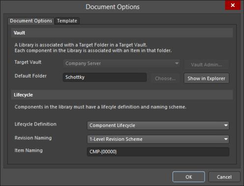 Серверные настройки определяются в диалоговом окне Document Options.