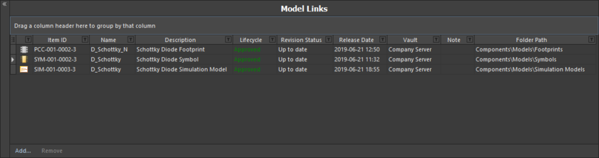 Область Model Links, где доступны функциональные возможности для определения ссылок на модели и их назначения определениям компонентов.
