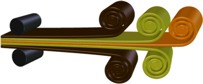 A simplified view of how a flexible circuit is manufactured;the materials are laminated together under heat and pressure.