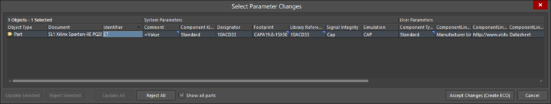 The Select Parameter Changes dialog