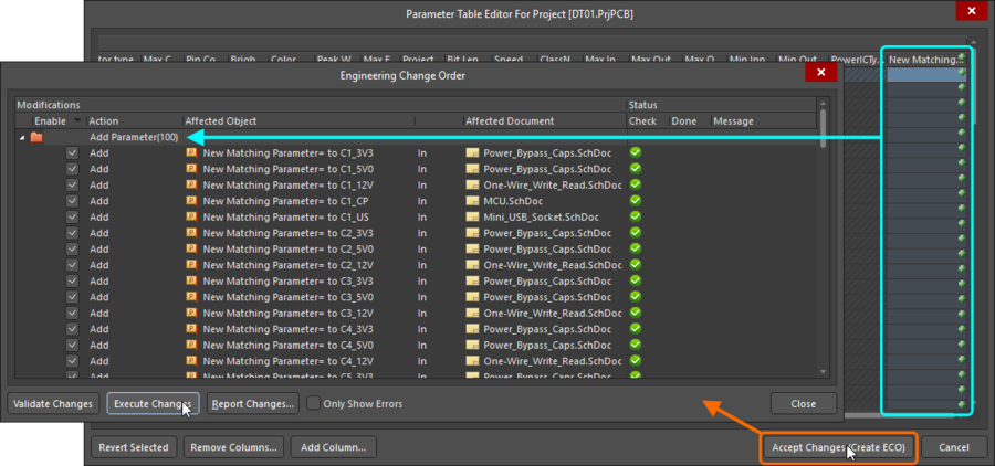 Accept the changes in the Parameter Table Editor dialog to create ECOs that add a new parameter to each part