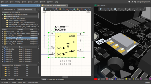 Clicking in the Navigator panel while holding the Alt key, to select a component on the schematic and the PCB simultaneously