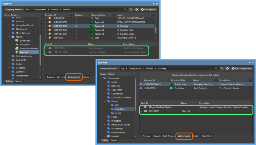 Example exploring where revisions of Symbol (top) and Component (bottom) Items are used, using the Where-used aspect view tab.