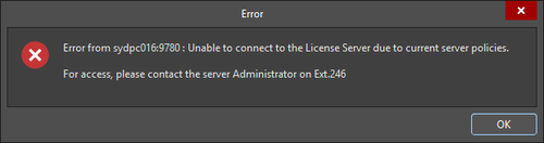 A modified Error dialog message for a 'code 4' condition.
