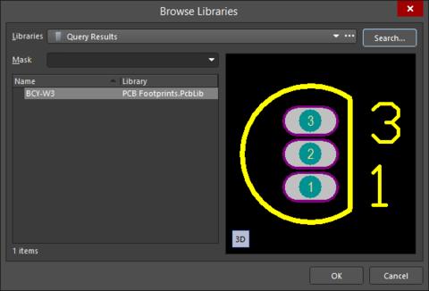 Выберите нужное посадочное место в диалоговом окне Browse Libraries.