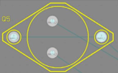 Посадочное место TO-3 с двумя контактными площадками с обозначением 3 в одной цепи.