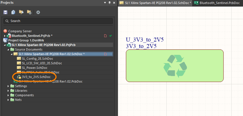 The Device Sheet will appear in the project hierarchy with a special Device Sheet icon.