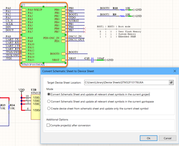 Specify details of the conversion in the Convert Schematic Sheet to Device Sheet dialog.
