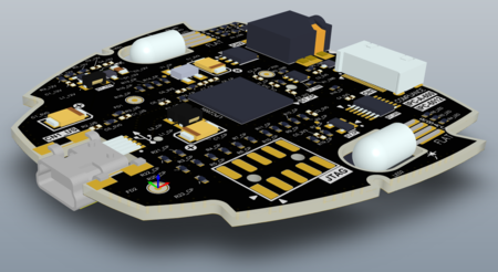 PCB editor in 3D mode, showing the DT01 example board