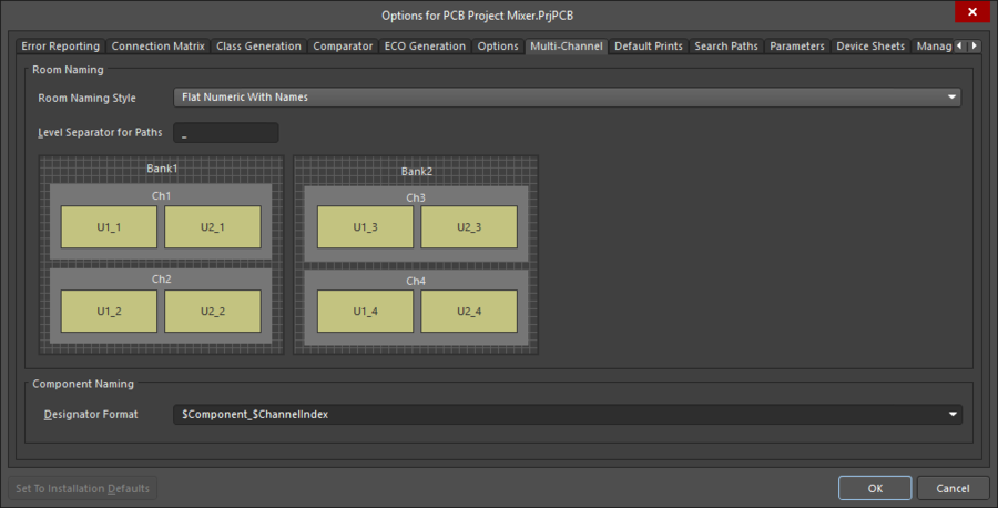 Вкладка Multi-channel диалогового окна Project Options, опции в которой определяют, как будут именоваться повторяющиеся компоненты и цепи