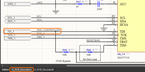 Image showing how net names are managed in a repeated decoder channel, on the schematic of the first decoder channel