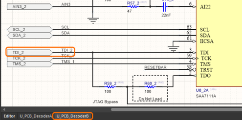 Image showing how net names are managed in a repeated decoder channel, on the schematic of the second decoder channel