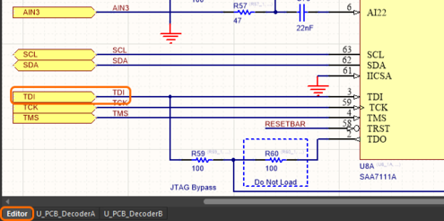 Image showing how net names are managed in a repeated decoder channel, on the captured schematic of the child sheet