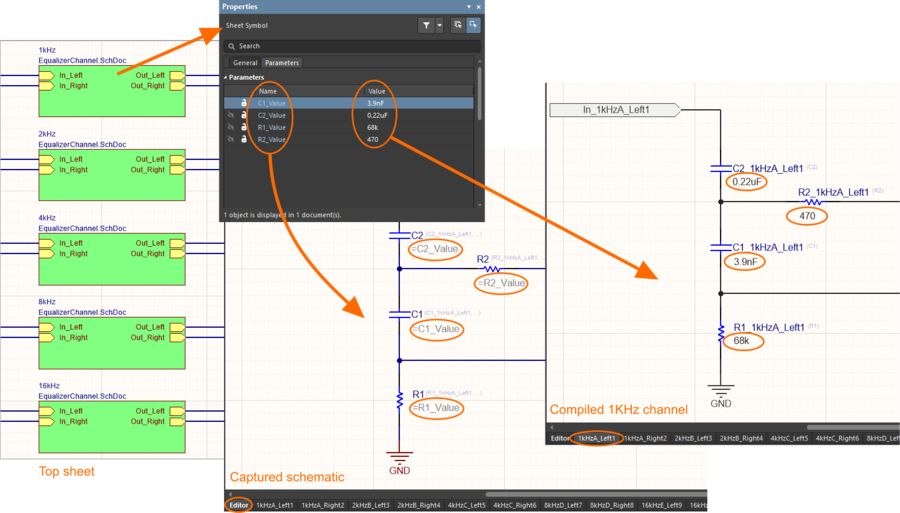 Image showing how parametric hierarchy works, where the component values are defined and how they are referenced