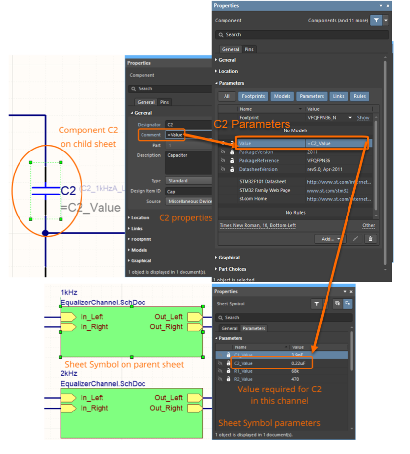 Image showing a more detailed view of how parametric hierarchy works