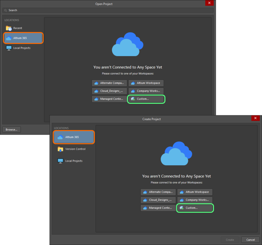 Connect to your Concord Pro instance through the Open Project and Create Project dialogs.