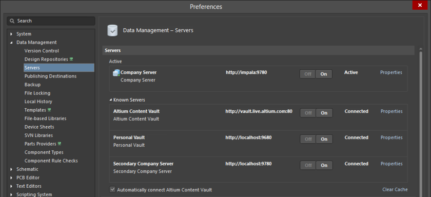 Server management is performed through your software preferences.