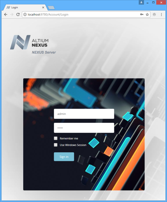 Sign in to your Altium NEXUS Server through its browser-based interface.