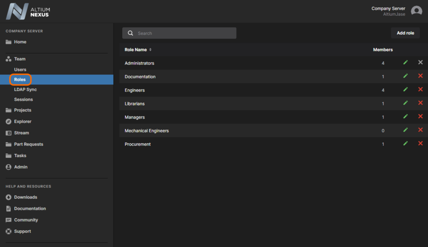Create specific roles (or 'memberships') of users, from the Roles page of the browser interface.