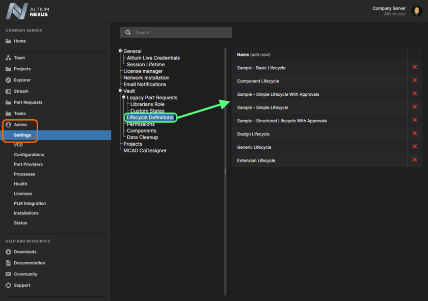 Accessing lifecycle definitions through the NEXUS Server's browser interface.