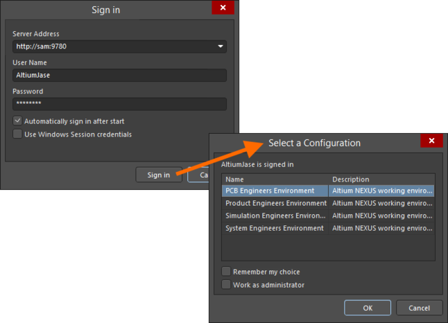 If multiple environment configurations apply to a user, that user will be presented with the choice at the time of signing into the NEXUS Server.
