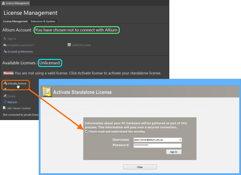 Use the Activate Standalone License dialog to create a temporary connection to Altium, with which you can quickly activate your Standalone license.