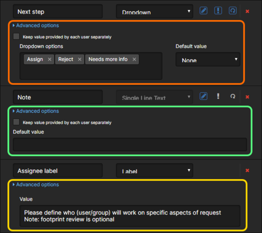 Examples of Advanced options for various defined fields on a Form.