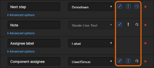 Examples of defined fields on a Form, along with their flags.