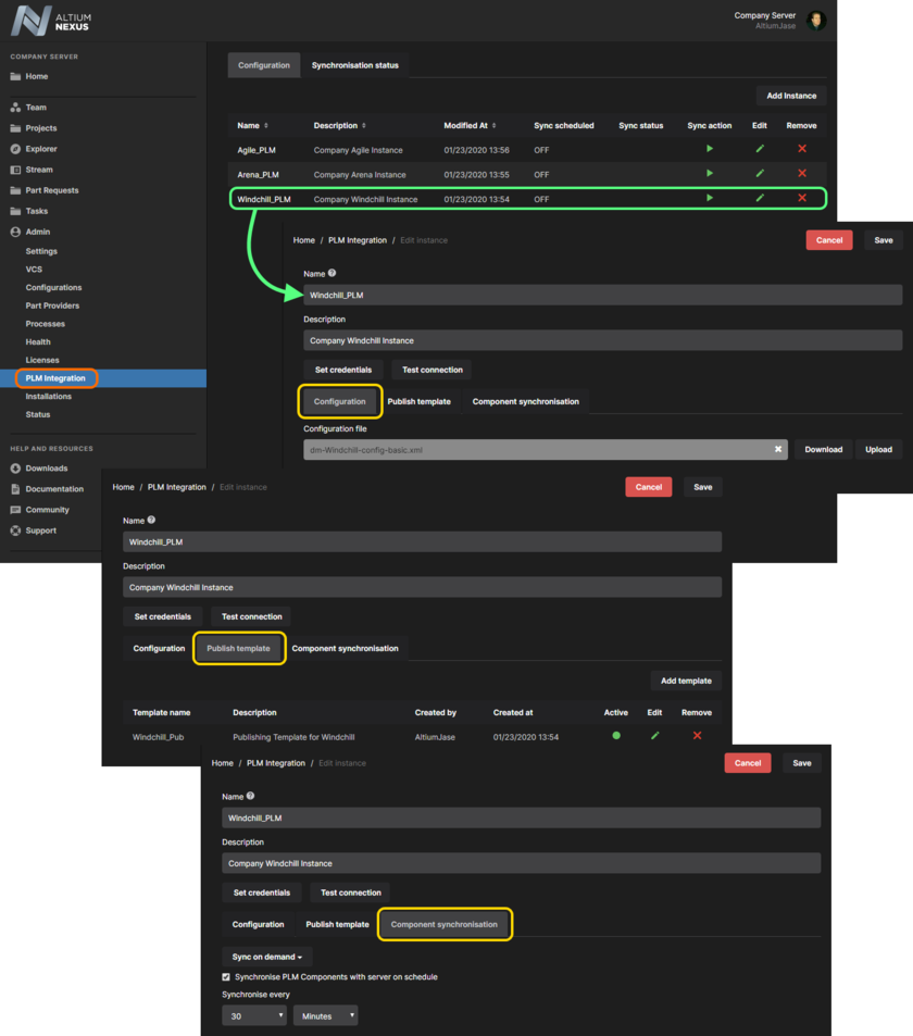 Add and configure the interface to your company's PLM system. With a valid connection, you can then publish project release data to the PLM system (using defined process definitions) in accordance with an active publishing template for the instance, and also schedule synchronization of components between that PLM instance and your NEXUS Server.